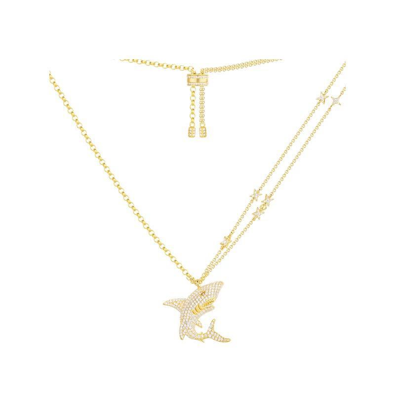 ZOZIRI 925 sterling silver zircon Shark Pendant Necklace women Jewelry Gold Color Sea Animal Necklaces with star charms onaco недорго, оригинальная цена