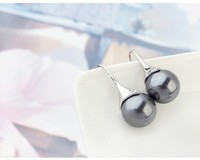 Austrian Dark Gray Pearl Dangle Chandelier Earrings White Gold Filled Statement Jewelry Hook Earrings For Women