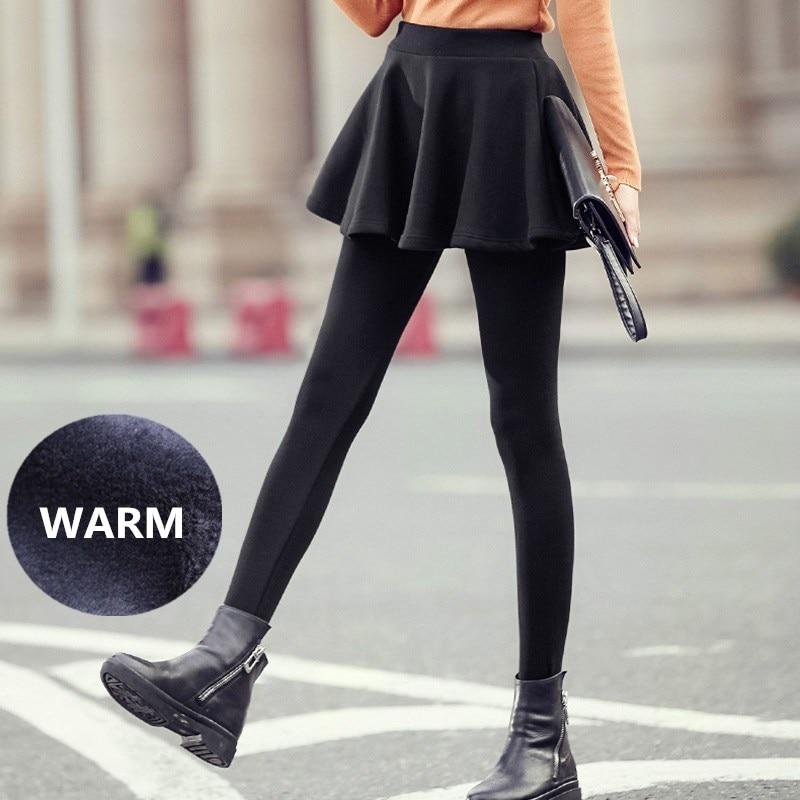 WKOUD 1 Piece Winter Leggings Skirts Women Thick Fleeces Pleated Skirts Pants Solid Black Skinny Warm Velvet Pencil Pants P8670