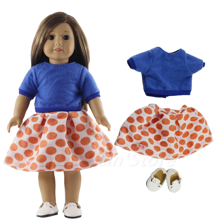 3in1 Set Doll Clothes Outfit +white Shoes  For 18