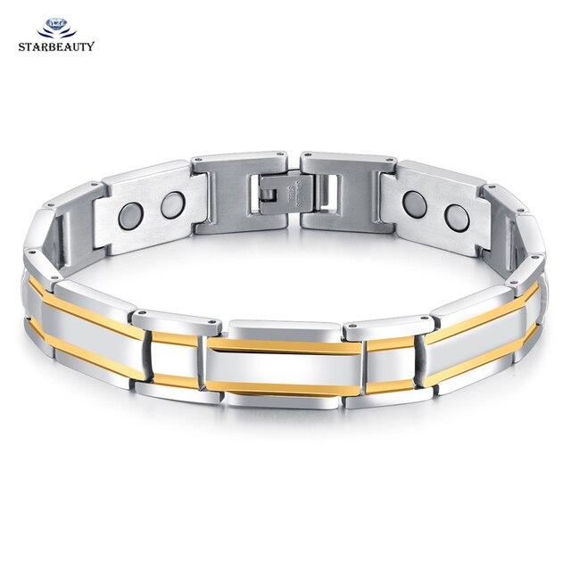 Never Fade Polished Business Men Bracelet Health Care Magnetic Bracelets Mixed Gold Color Hologram Homme
