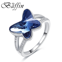 BAFFIN Real S925 Silver Ring Finger Wedding Jewelry Crystals From SWAROVSKI Elements Cute Butterfly Beads Accessories For Women