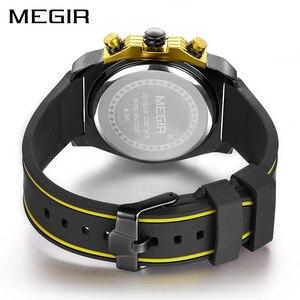 Image 2 - Creative MEGIR הכרונוגרף ספורט שעון גברים סיליקון צבא צבאי יד שעונים שעון גברים למעלה מותג יוקרה Relogio Masculino