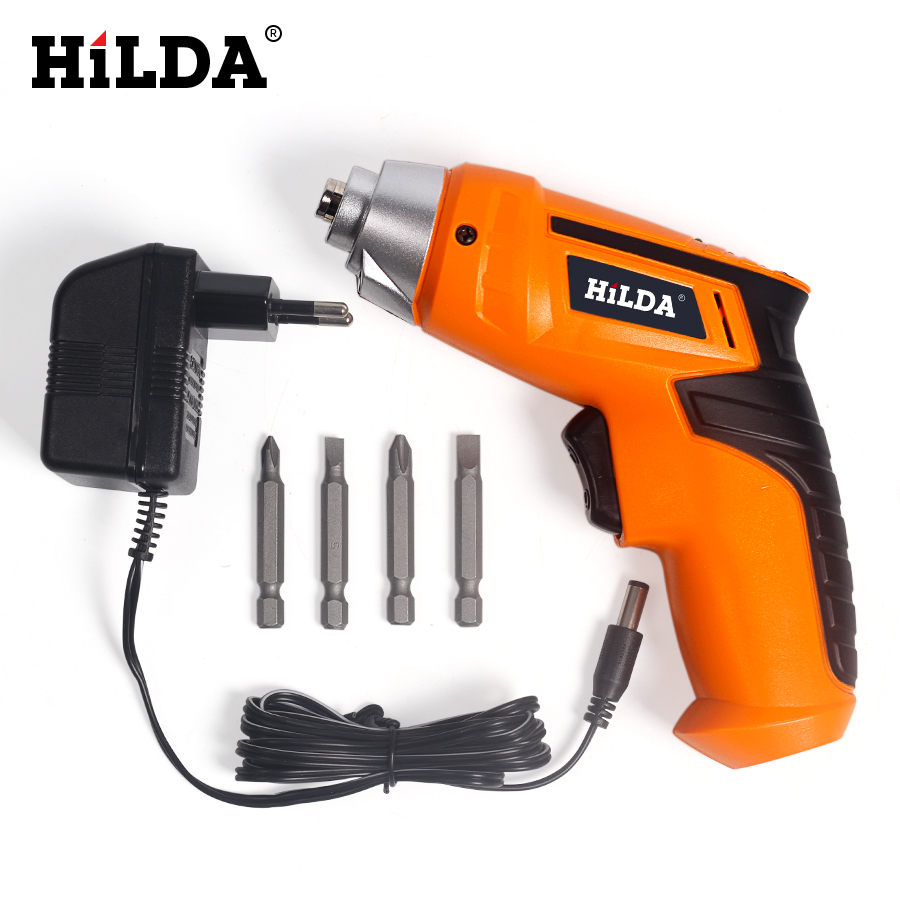 цена на HILDA 4.8V Ni-Cd Battery LED Light Rechargeable Cordless Electric Screwdriver Household Multifunction Electric Drill Tools