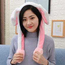 Flash Rabbit Ears Dance Rabbit Ears Plush Pink Gifts Cute Baby Toys Fashion Girl Friend Cosplay Hats Lovely Rabbit Hat Bunny(China)