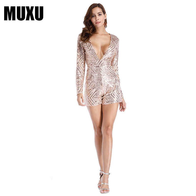 b44e6782ed54 MUXU sexy gold sequin summer v neck jumpsuit short women glitter party club  long sleeve rompers