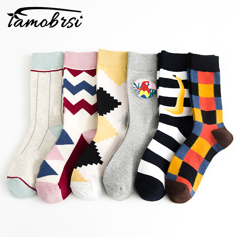 Socks Women Men Geometric Square Stripe Parrot Sawtooth Wave Pattern Hipster Cozy Cotton Silky Vintage Socks Short Unisex Female