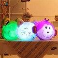 Glowing luminous led light up toys monkey frog cat bear stuffed plush toy doll cushion pillow birthday gift Triver Toy