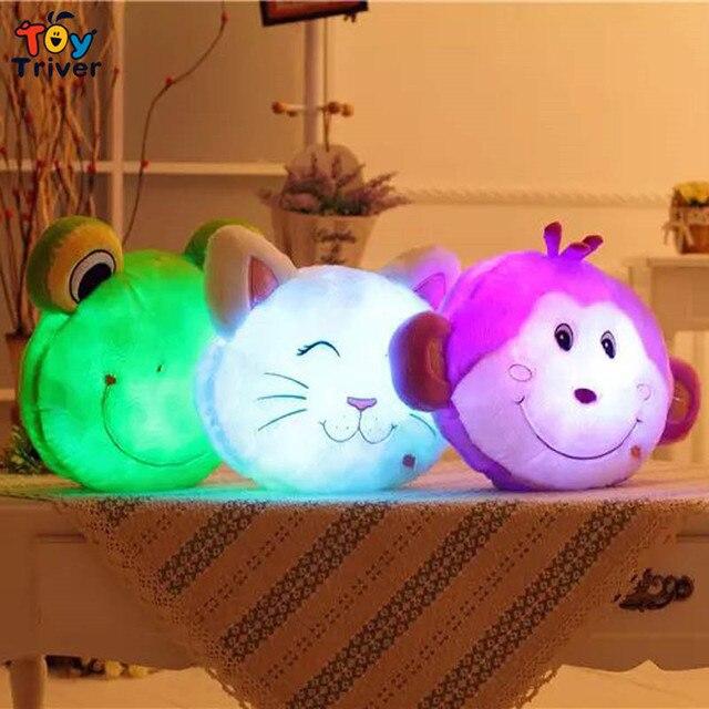 Que brilla luminoso led light up juguetes mono rana cat oso de peluche de juguete de felpa muñeca cojín almohada regalo de cumpleaños triver juguete