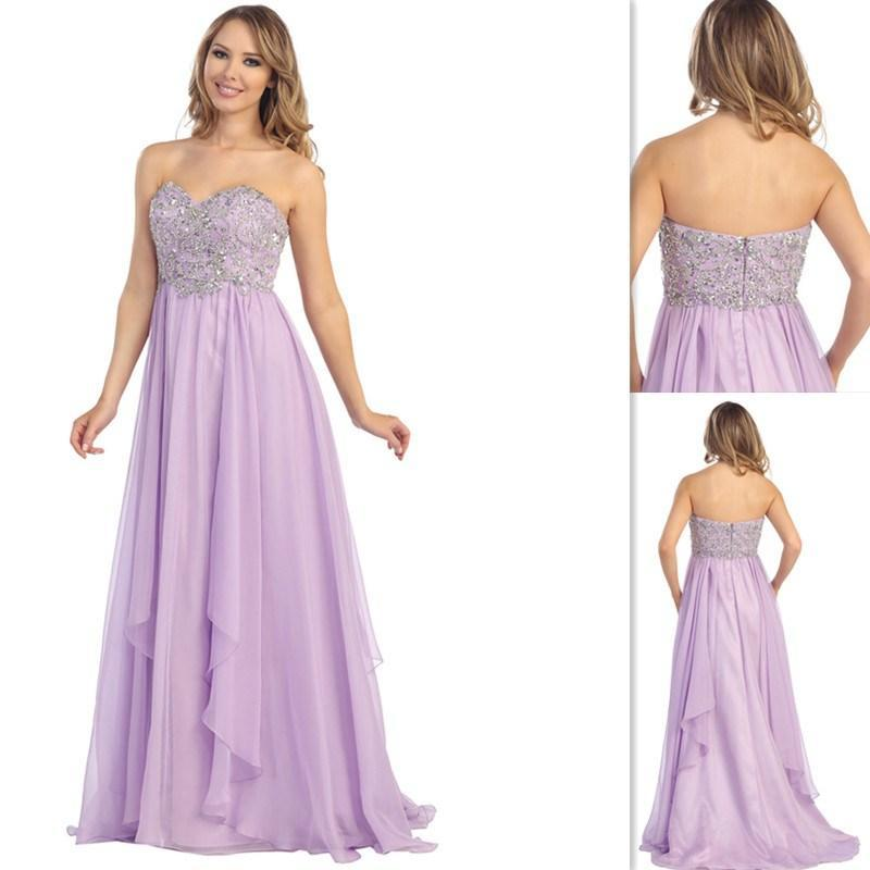 Beaded Sweetheart Pretty Long Light Purple Prom Dresses Plus Size ...