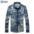 Los hombres de moda denim estampado floral camisa Masculina camisa casual plus de gran tamaño delgado de la manga completa Envío gratuito