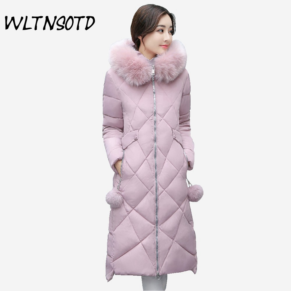 2017 new winter women's cotton fashion big hooded Fur collar cotton jacket long Solid coat for Female warm Slim Hairball Parkas new cotton jacket women long slim hooded big fur collar coat 2017 winter female fashion solid warm zipper parkas