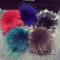 Fashion Raccoon Fur Keychain PomPoms for Bag Car Charm Pendant Lovely Fur Balls Fur Keychain 15CM  Fur Christmas Gift K#04