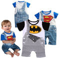 Summer New Kids Baby Clothing Cool Boys Outfits Cartoon Romper Suit Superman Batman Overalls Clothes 0-24M