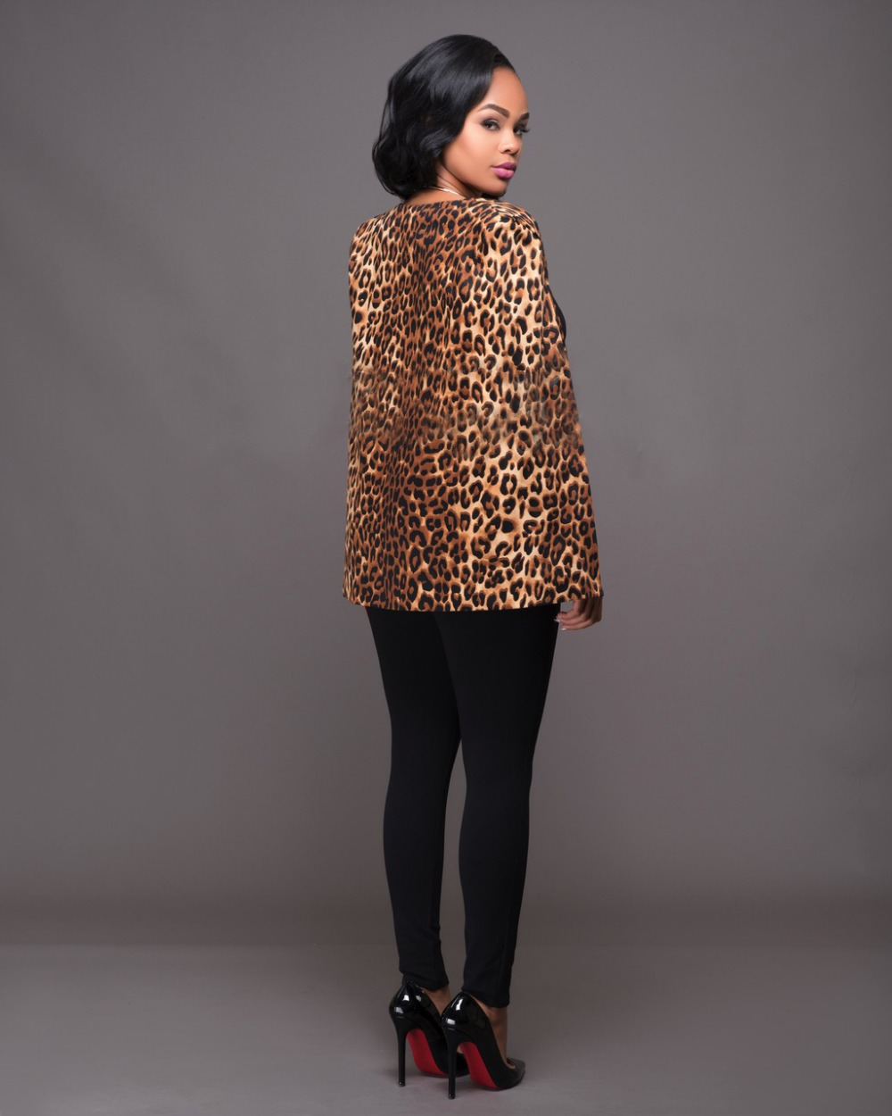 2016 Hot Women Leopard Print Jacket European Style Coat Loose Sleeves Jazz Coat Girl Fashion