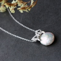 925 silver set shaped pearls wholesale 925 sterling silver pendant chain The owl pendant with silver chain