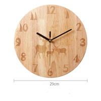 Modern Minimalist Clock Solid Wood Nordic Round Creative Wooden Mute Deer Elk Bedroom Living Room Clock Wall Charts Large Clock