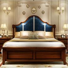 Door of completely real wood European leather double bed 1.8 meters furniture restoring ancient ways
