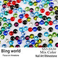 All Size Nail Art Rhinestone Mix Color Flatback Non Hot Fix Rhinestones DIY Nails Decoration Crystal Stones