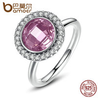 BAMOER Brand 2016 New Collection 925 Sterling Silver Brilliant Legacy Stackable Ring Pink Clear CZ Ring