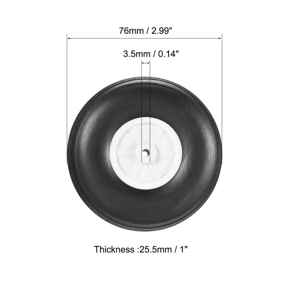 Beschouwend Uxcell Goede Kwaliteit 4 Stks 76*3.5mm Od * Id 25.5mm Dikte Witte Plastic Hub Zwart Schuim Wiel Speelgoed Auto Wiel & Rc Speelgoed Auto Diy Hoge Veerkracht