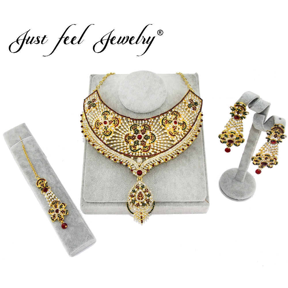 JUST FEEL Luxury Crystal Jewelry Set India Flowers Gold Color Necklace Earrings Headdress Arab/Africa Wedding Bride's Dowry