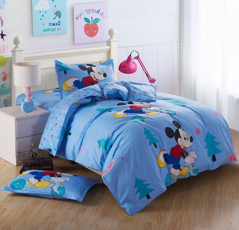 very cute kids cartoon bedding set twin size 3 piece 100 cotton mickey minnie mouse comforter. Black Bedroom Furniture Sets. Home Design Ideas