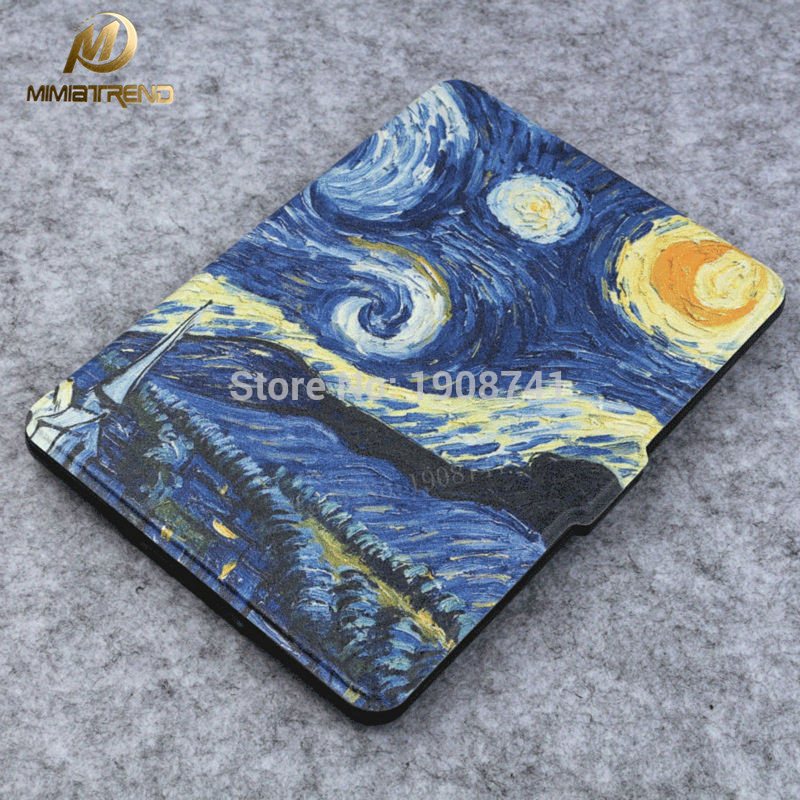 Mimiatrend New Cover for Amazon Kindle Paperwhite 1 2 3 Slim Leather Case 6 inch Ebook Tablet Accessories-Starry Night Van Gogh sleeve pouch case for amazon kindle paperwhite new kindle kindle voyage 6 inch easy carry e book e reader sleeve cover case bag