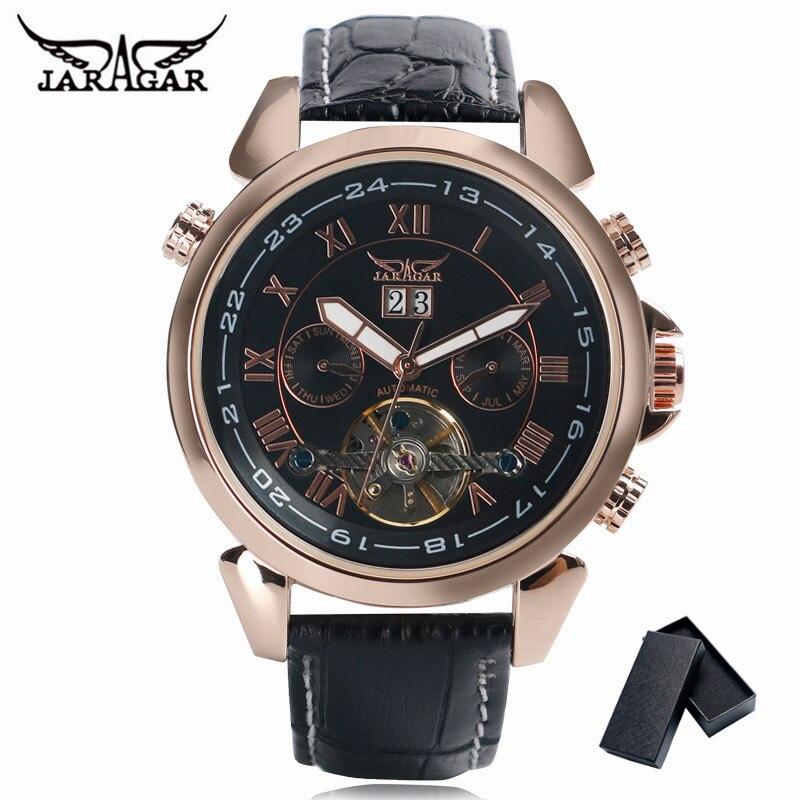 JARAGAR Luxus Marke Tag Anzeige Herrenuhr Tourbillon Selbst Wind Mechanische Uhren Sport 2017 New Fashion Lederband Männer uhr