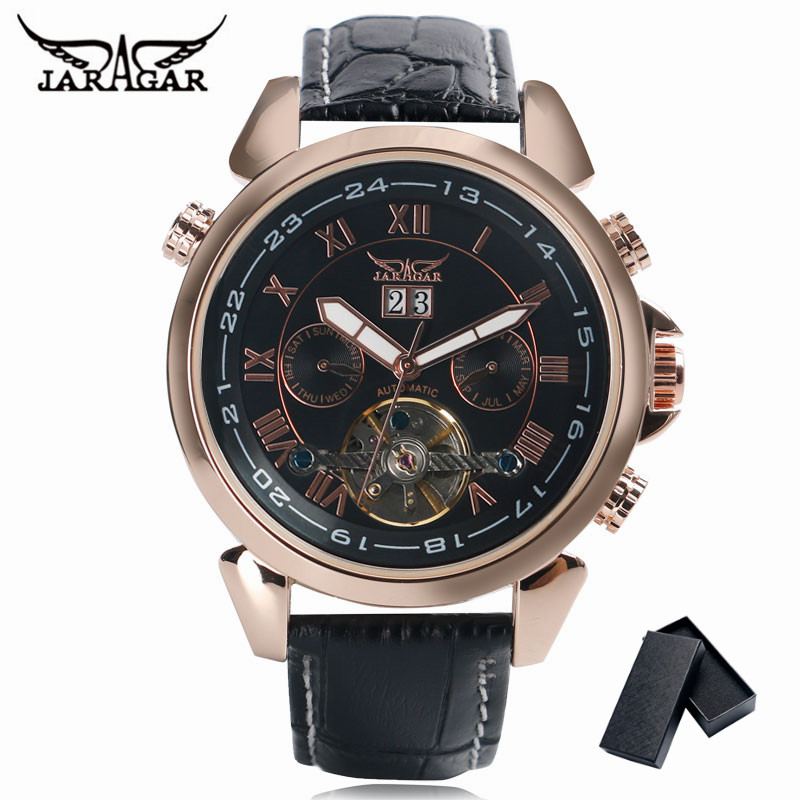 Luxury Brand JARAGAR Day Display Men Watch Tourbillon Self-Wind Mechanical Watches Sport 2017 New Fashion Leather Band Men Clock forsining multifunction tourbillon date day display rose golden watch men luxury brand automatic watch fashion men sport watches
