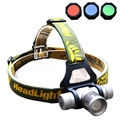 Zoomable Headlamp 1000 Lumens CREE Q5 LED Headlight Head lamp Zoom LED Head Light Lamp with Red /Green/ Blue Diffuser