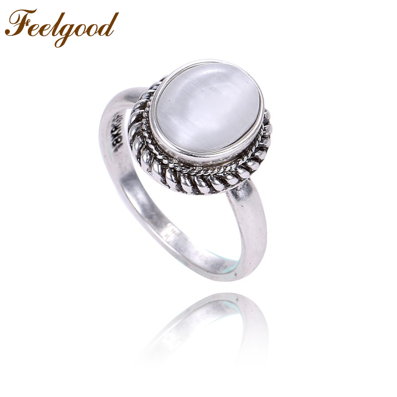 Feelgood Antique Silver Color Vintage Jewelry Female Finger Ring Exquisite Oval White Stone Opal Rings For Girl Lady Women Gifts
