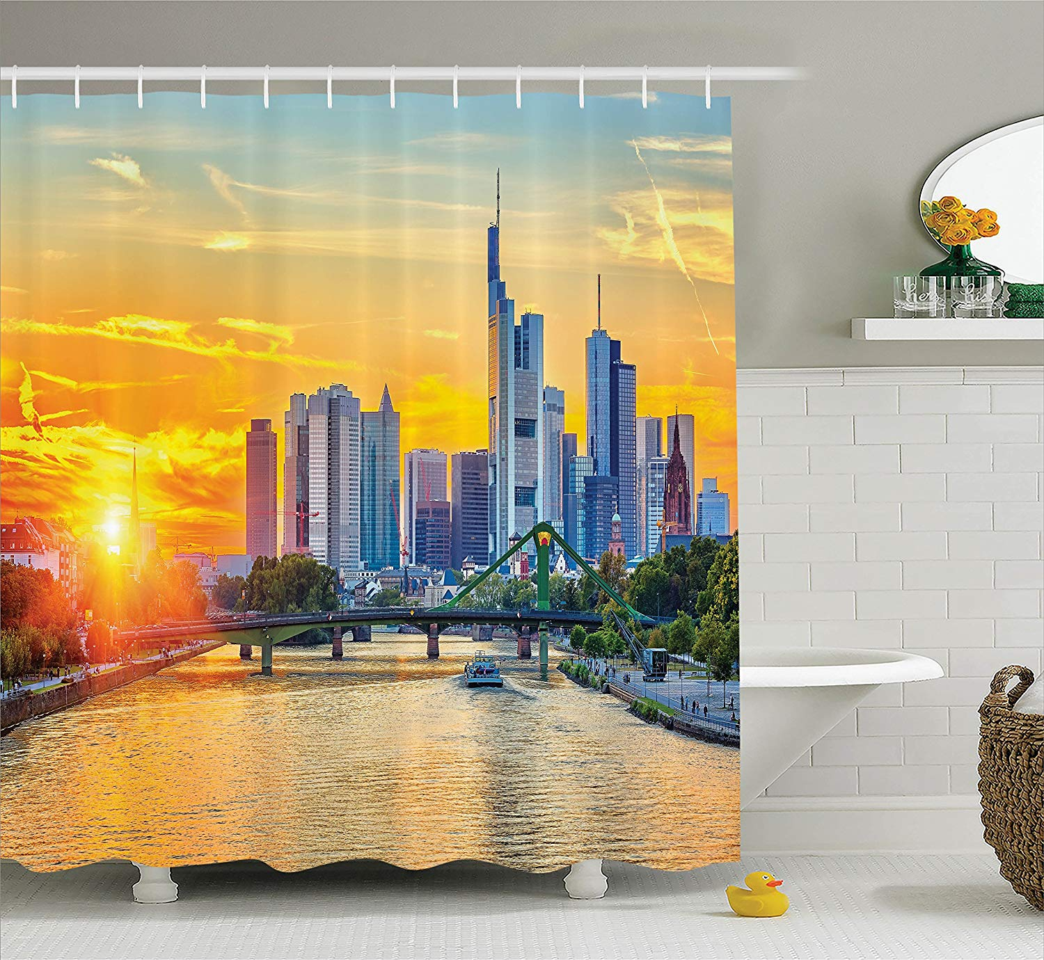 Wanderlust Decor Shower Curtain Frankfurt at Sunset Landmark Skyscraper Vibrant Colors Waterfront Image Polyester Fabric