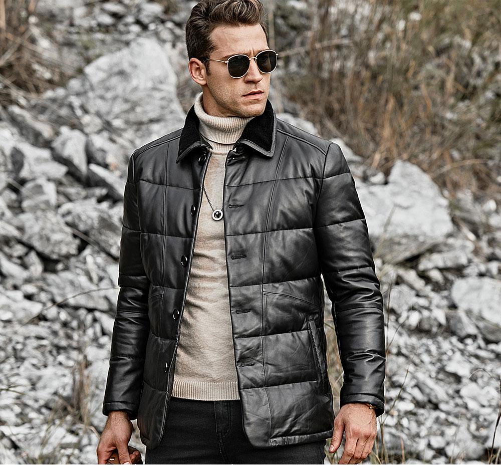 Smak męska prawdziwa skóra dół kurtki mężczyźni prawdziwa skóra jagnięca zimowe ciepłe płaszcz skórzany ze zdejmowanym stały owca futro kołnierz