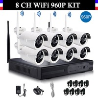 8CH Wireless Wifi 960P CCTV System 8 Channel NVR 8PCS 960P IP Camera Real Plug And