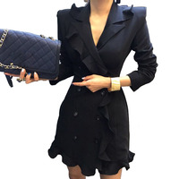 Brief Women Blazer Dress Spring Autumn Double Breasted Buttons Ruffles Business Office Dress Basic Vestidos Apparel Off White
