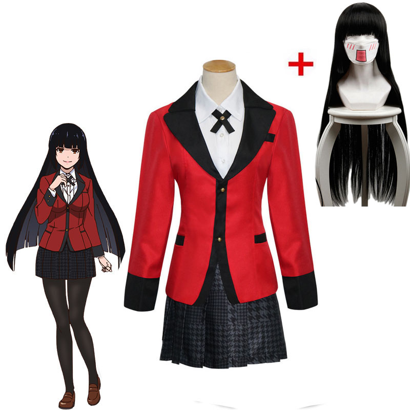 2018 Hot Anime Kakegurui Cosplay Costumes Yumeko Jabami Japanese School Girls Cool Uniform Halloween Cosplay Dress Full Set