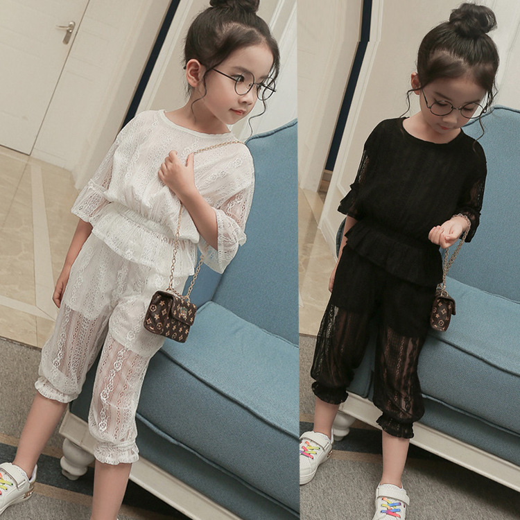 Girls Clothing Sets 2017 Summer Kids Clothes Flare Sleeve Lace Embroidered Hollow Shirt + Pant Two Pieces Fashion Clothing 3-7T dhl equick ems shipping 6 sets girls clothing sets lots fashion kids clothing sets 2017 top jean pant 2pcs girls clothes sets