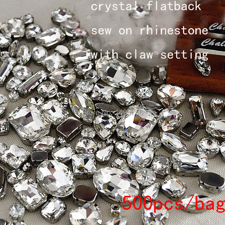 Fancy crystal rhinestone 500pcs lot Mix sizes Sew On Rhinestones Flatback With metal claw setting Sewing