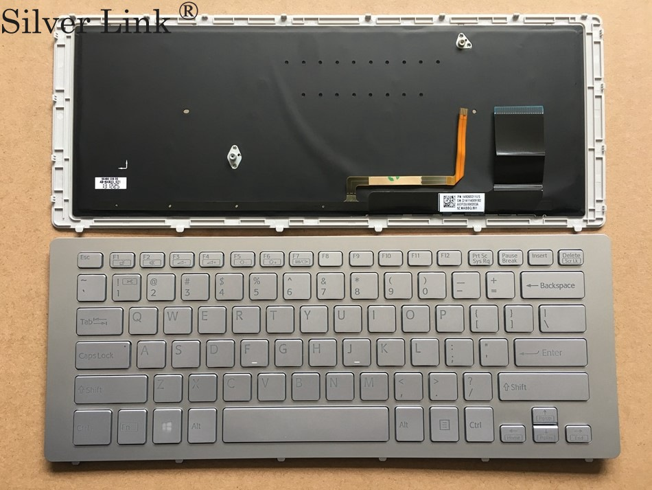 NEW US Silver Keyboard for SONY VPC SVF15N SVF 15N SVF15N18SCB laptop keyboard US Layout цена