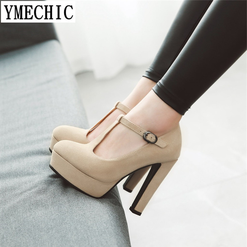 YMECHIC Ladies Shoes T Strap Spike High Heels Pumps Platform Suede Party Office Womens Plus Size Shoes Summer Spring Black Brown