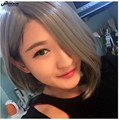 Sexy Lady Natural Wig for White Women Short Grey Hairstyles Straight Bob Wig Central Parting Wig Synthetic Cosplay Party Wig
