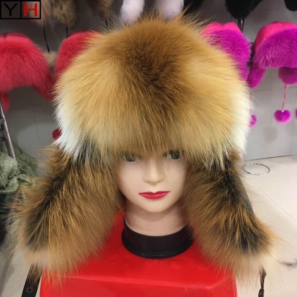 Bomber Hats Fur-Caps Fox-Fur Winter Real Fashion Warm Real-Sheepskin Soft Natural High-Quality