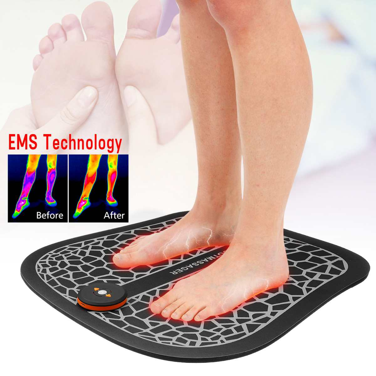 EMS Physiotherapy Foot Massage Mat Pad Electric Muscle Stimulator Vibrator Massager Foot Spa Relaxation Pain Relief Feet