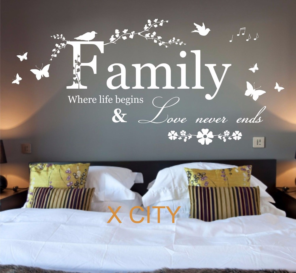 Family Where Life Begins Quote WORDS BEDROOM WALL ART STICKER REMOVABLE  VINYL TRANSFER DECAL HOME DECORATION S M L In Wall Stickers From Home U0026  Garden On ...