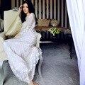 Fashion Embroidery Lace Silk Nightwear Women's Two-piece Sleepwear Robe Gown Sets White Long Nightdress Pajamas Sets Home Wear
