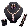 Nuevo Diseño de Moda Africana Dubai vestido de Novia Traje de Novia Conjuntos de Collar de plata Cristal Plateado del Oro de La Venta Superior Mujeres Sistemas de La Joyería