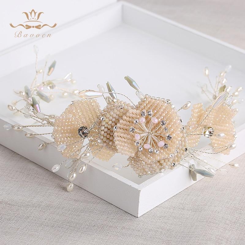 Top Quality Wedding Light Pink Crystal Soft Hairbands Rhinestone Brides Crown Tiara Evening Hair Jewelry