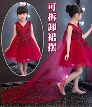 2017 Christmas Baby Girls Party Red Dress Evening Wear Long Tail Girls Clothes Elegant Flower Girl Dress Kids Baby Dresses 1-12T