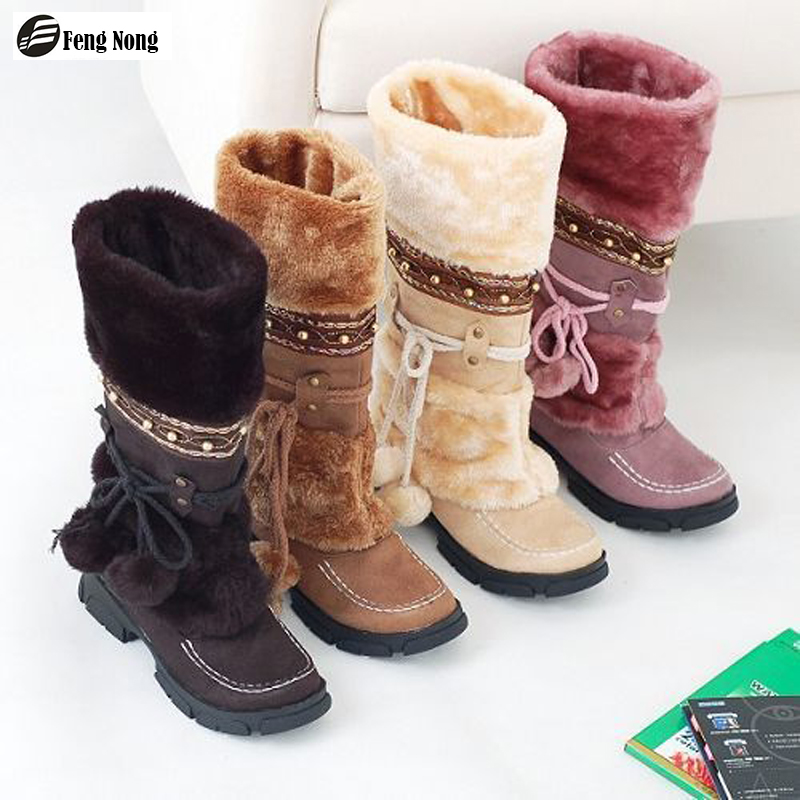 Fengnong Russia Winter Warm Thickened Fur Over Knee High Heel Boots Women Shoes Fashion Sexy Botas Long Woman Footwear 35-40